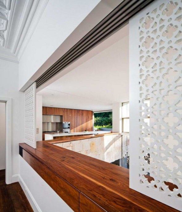 House With Traditional Stone Wall Room Partition | room partitions ...