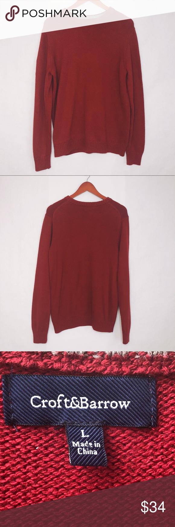 Croft Barrow Red Crewneck Sweater Mens Sz Large Croft Barrow Red Crewneck Sweater Mens Size Large Cotton Blend Men Sweater Crew Neck Sweater Sweaters [ 1740 x 580 Pixel ]