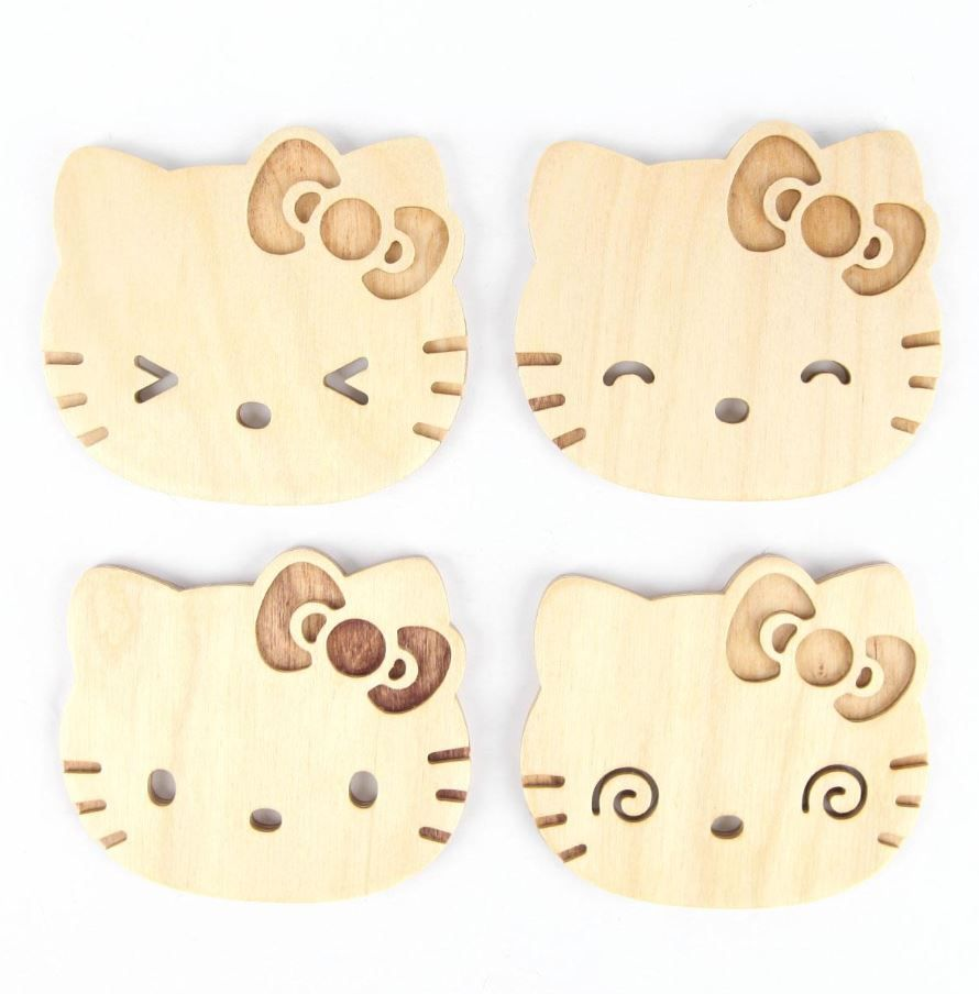 Poketo wooden coasters with #HelloKitty expressions... too cute to ...