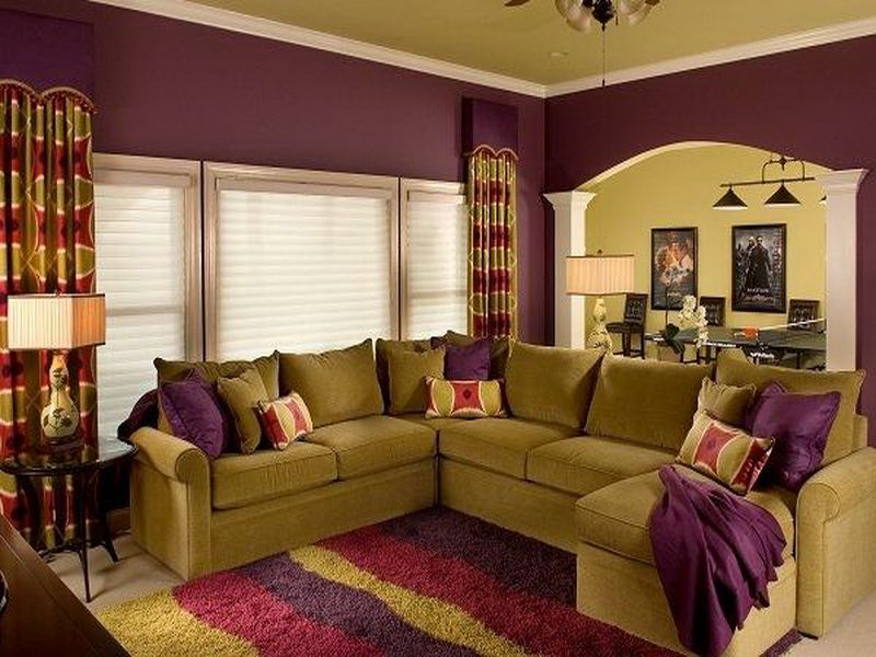 Living Room Complementary Purple Colors Interior Design ...