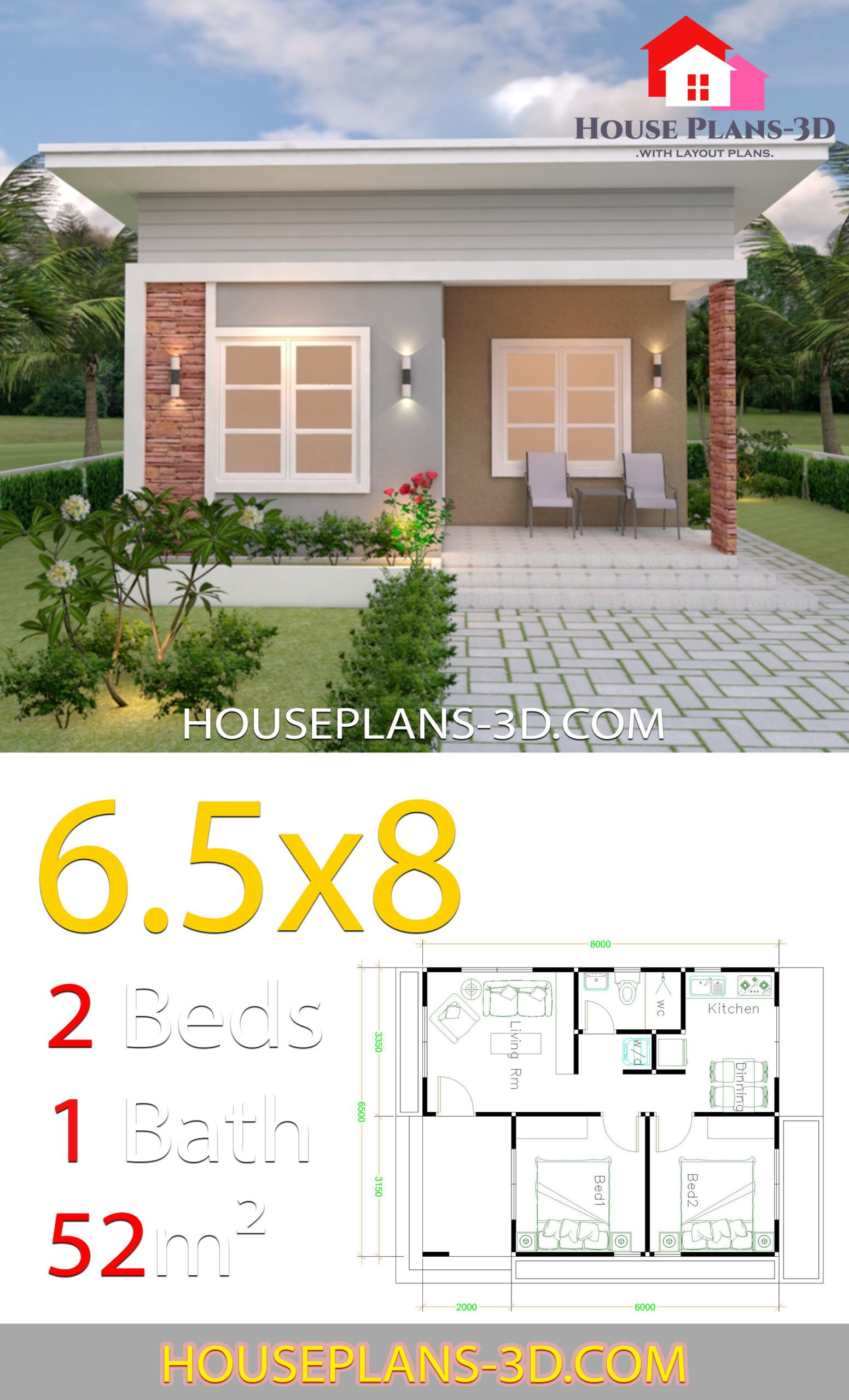 House Design Plans 6 5x8 With 2 Bedrooms Shed Roof House Plans 3d Small House Design Simple House Design Small House Plans