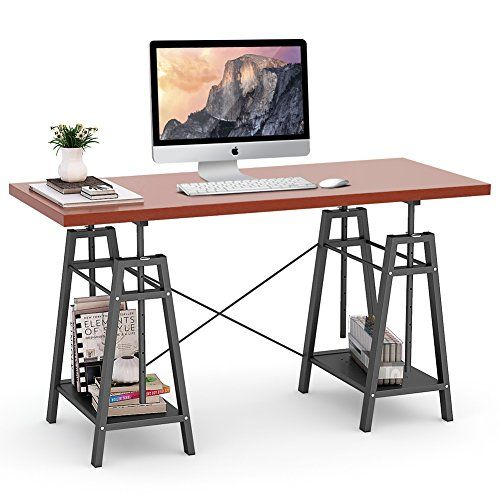 Tribesigns Computer Desk Height Adjustable Standing Desk 55 Large Office Desk With 2 Ope Adjustable Height Desk Adjustable Standing Desk Computer Desk Height