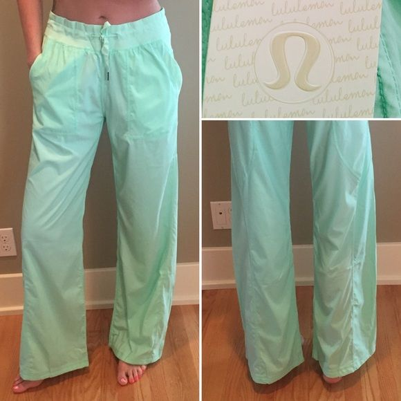 "LULULEMON STUDIO PANT- UNLINED SIZE 10 ✔️Straight leg; Medium Rise ✔️ Pretty Light Green ✔️ Loose fit  ✔️ New with tags ✔️ ""2-way stretch Is breathable and keeps pants in place ✔️Drawstring cord at waistline (you can adjust the length) ✔️ Size 10 lululemon athletica Pants"
