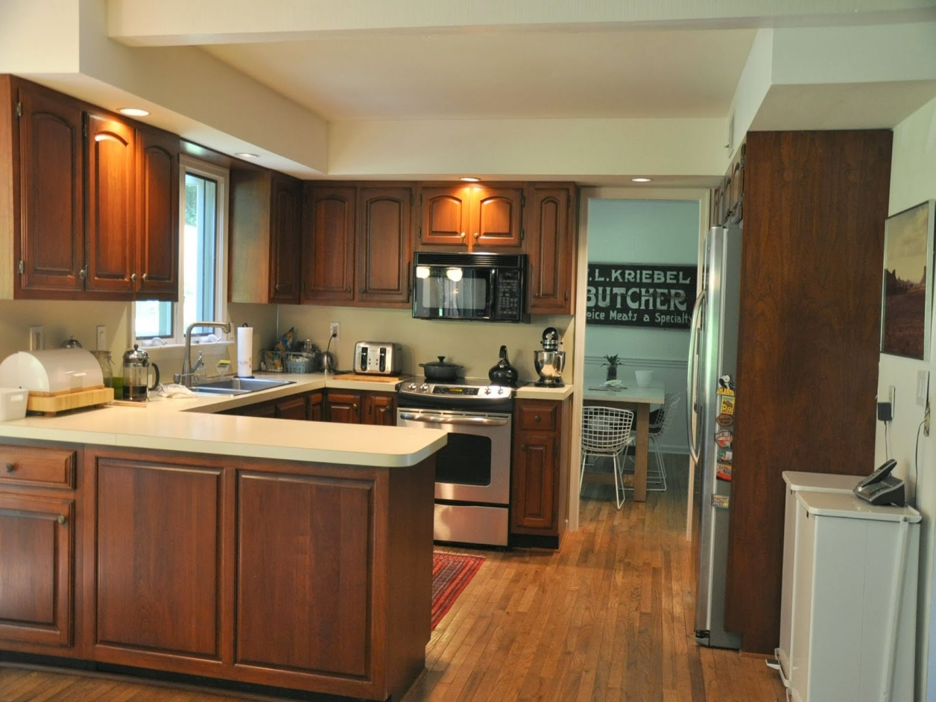 picture of u shape kitchen design ideas with brown solid wood
