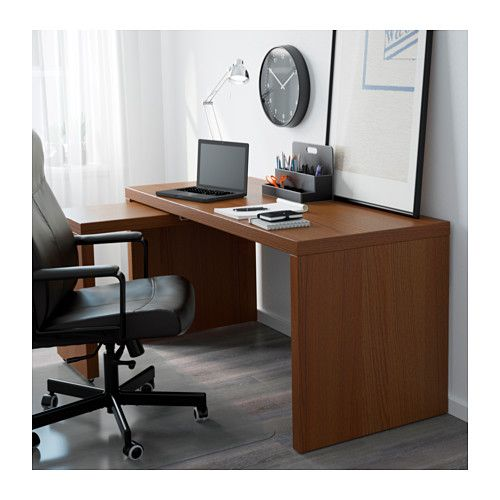 malm bureau avec tablette coulissante teint brun plaqu fr ne pinterest malm frene et ikea. Black Bedroom Furniture Sets. Home Design Ideas