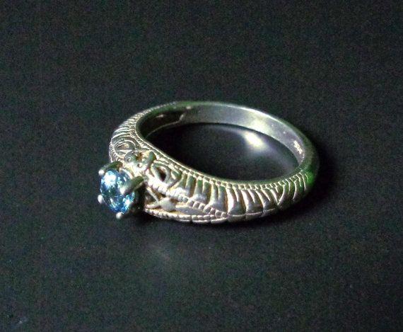 Egyptian Moondance Blue Topaz Silver Ring Size by lemuriandiamond