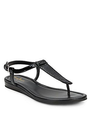 Molly Embossed Patent Leather Flat Sandals