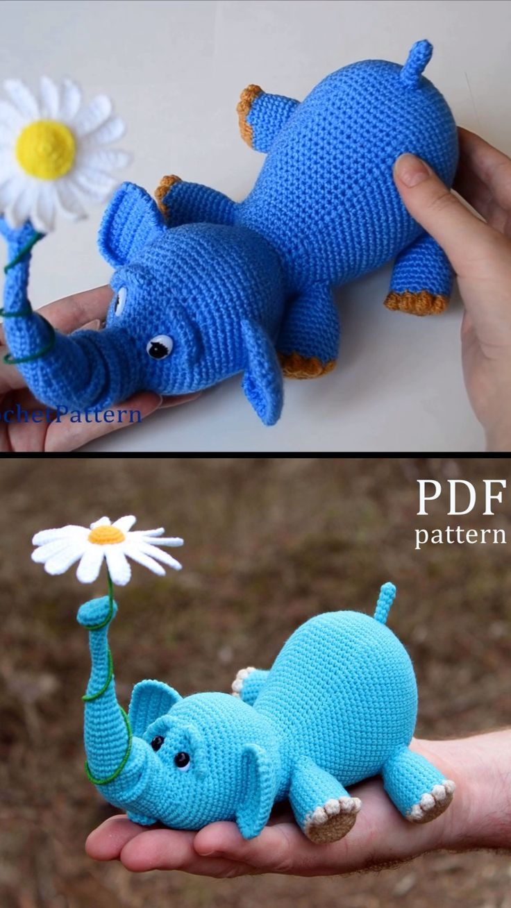 Crochet Elephant with a Flower #crochetelephantpattern