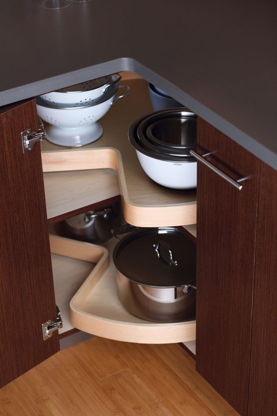 Corner Cabinet Storage Turntable Amp Pivoting Shelves