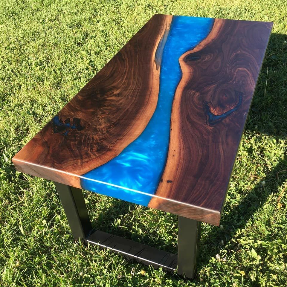 Black walnut resin coffee table is finally finished and ...