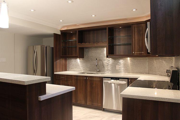 Modern Dark Brown Thermofoil Kitchen In Toronto