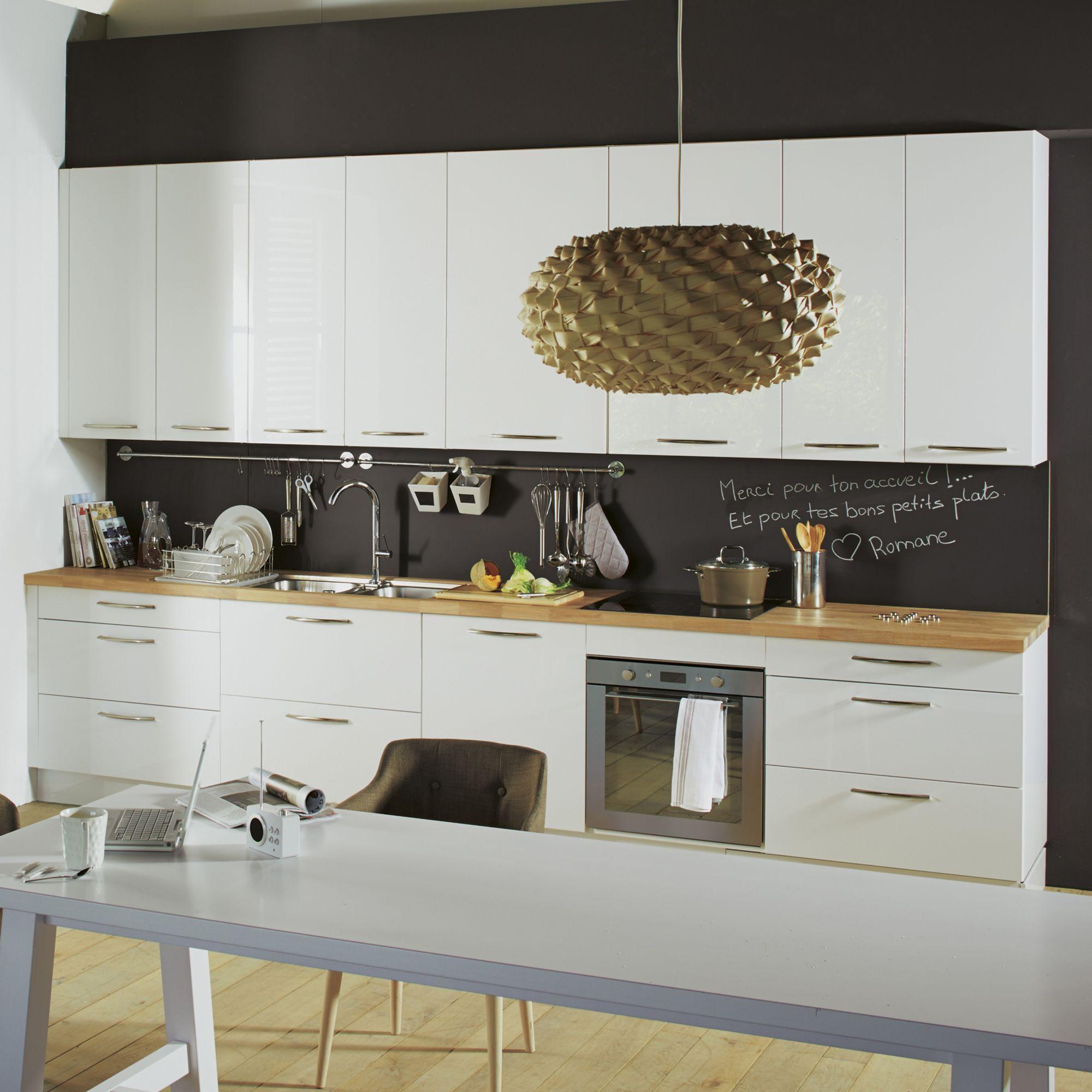Cuisine à Composer Modèle Type Rimini Blanc Cuisines à - Table laque blanc alinea pour idees de deco de cuisine