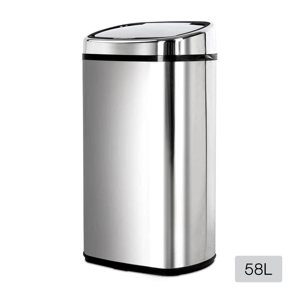 58L Stainless Steel Rubbish Bin w/ Motion Sensor Automatic Waste ...