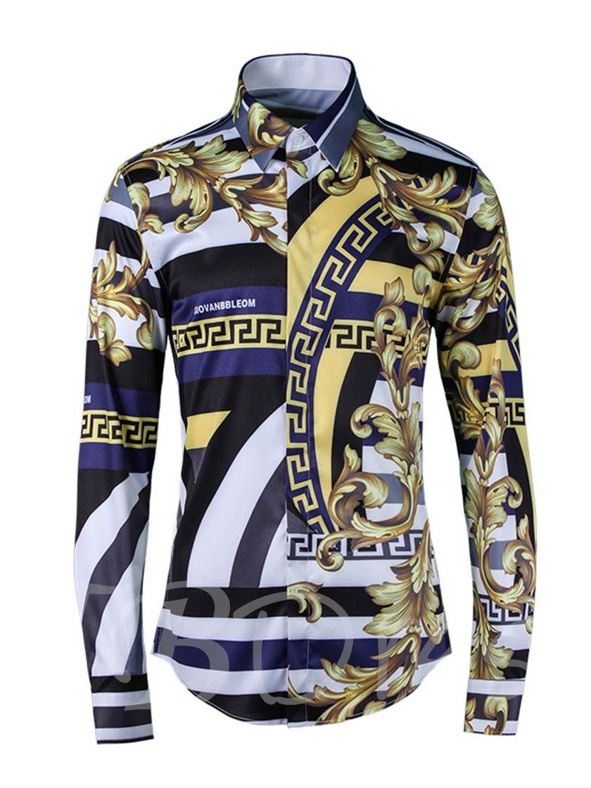 c61ee7692840 a020d1b0-da80-48af-a230-ae19e0e3b3cbLapel Ethnic Floral Print Luxury Slim  Men's Stripe Shirt