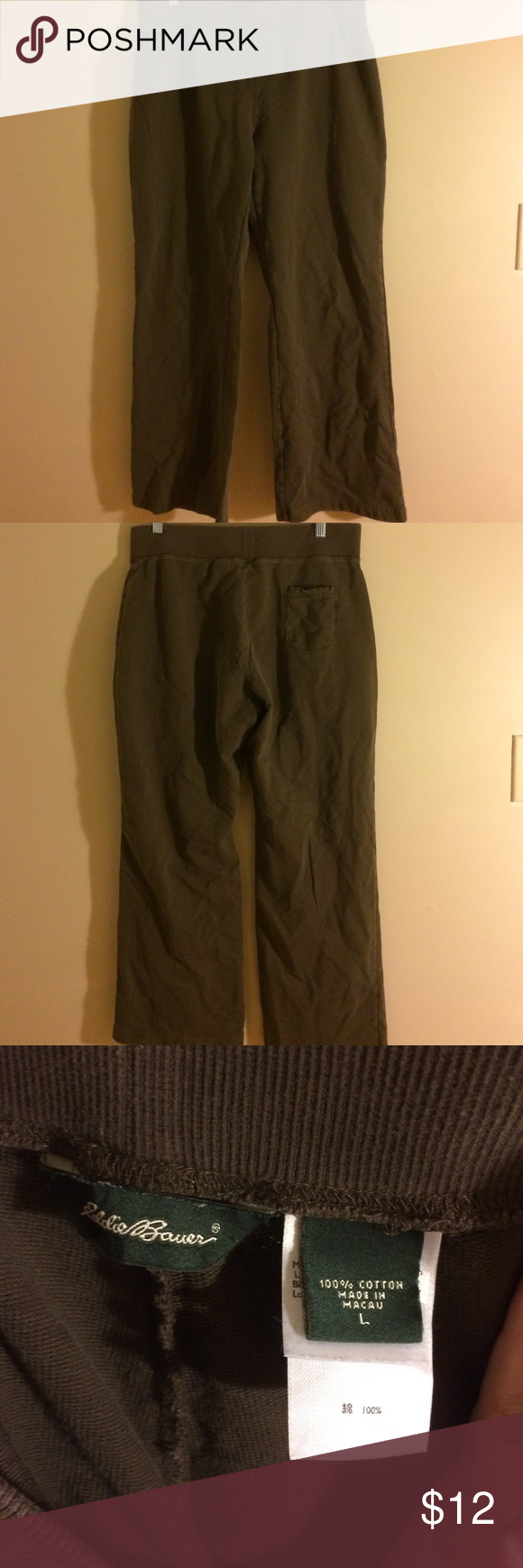 Eddie Bauer lounge pants size large GUC brown cotton pants with wide waist band. Super comfortable. Smoke free home. Bundle to save more Eddie Bauer Pants Track Pants & Joggers
