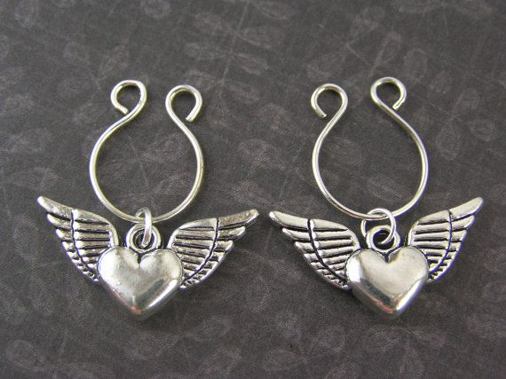 Silver Flying Angel Wing Hearts  Non by EyeCandyBodyJewelry