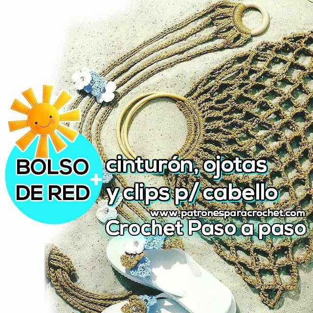 Bolso, cinturón, ojotas y clips para cabello al Crochet / Paso a ...