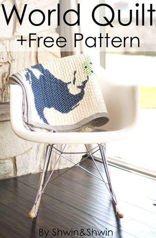 Manta patchwork mapamundi by Shwin&Shwin #world #map #quilt