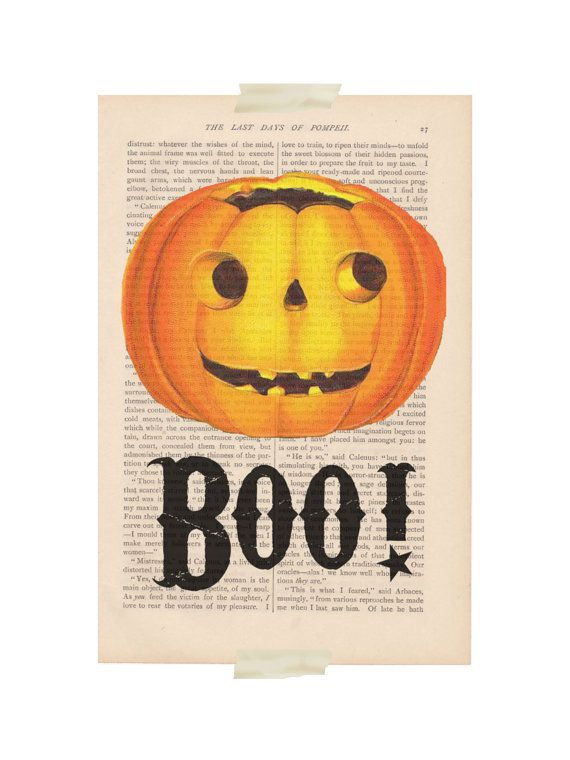 Halloween decor dictionary art vintage pumpkin boo print for Boo pumpkin ideas