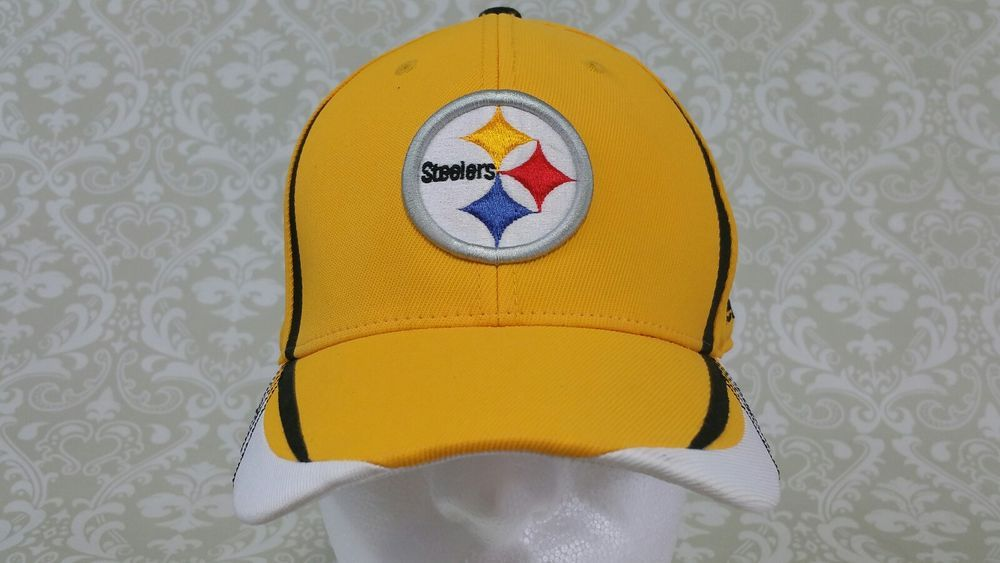 85f0669de39 Pittsburgh Steelers Reebok Flex fit Yellow Hat NFL Onfield equipment S M   Reebok  BaseballCap