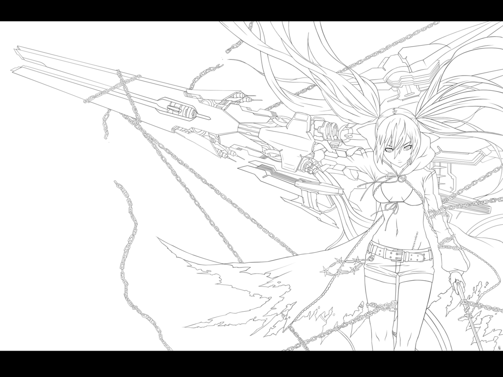 lineart black rock shooter by dark nyghtmare coloring pages