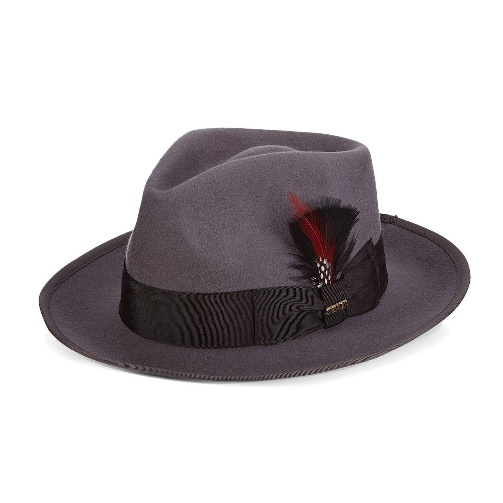 2626dbd1b8239 Scala Men s Wool Felt Snap-Brim Fedora With Feather