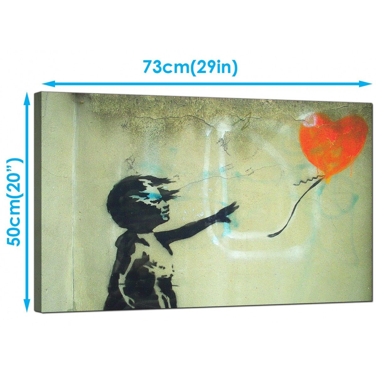 Banksy Canvas Art Large Banksy Girl With A Heart Balloon Orange Modern Canvas Art