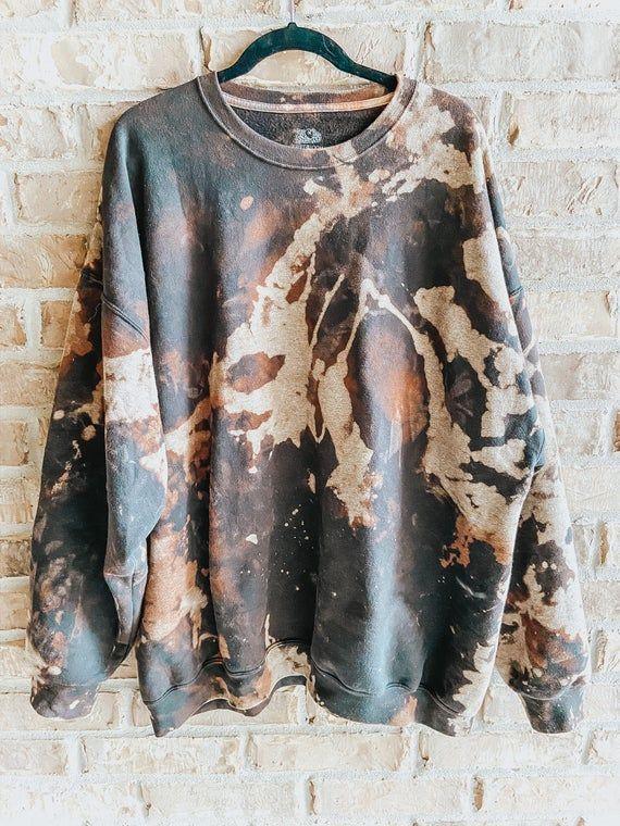 Black & Brown Bleached/Distressed Crewneck Sweatsh