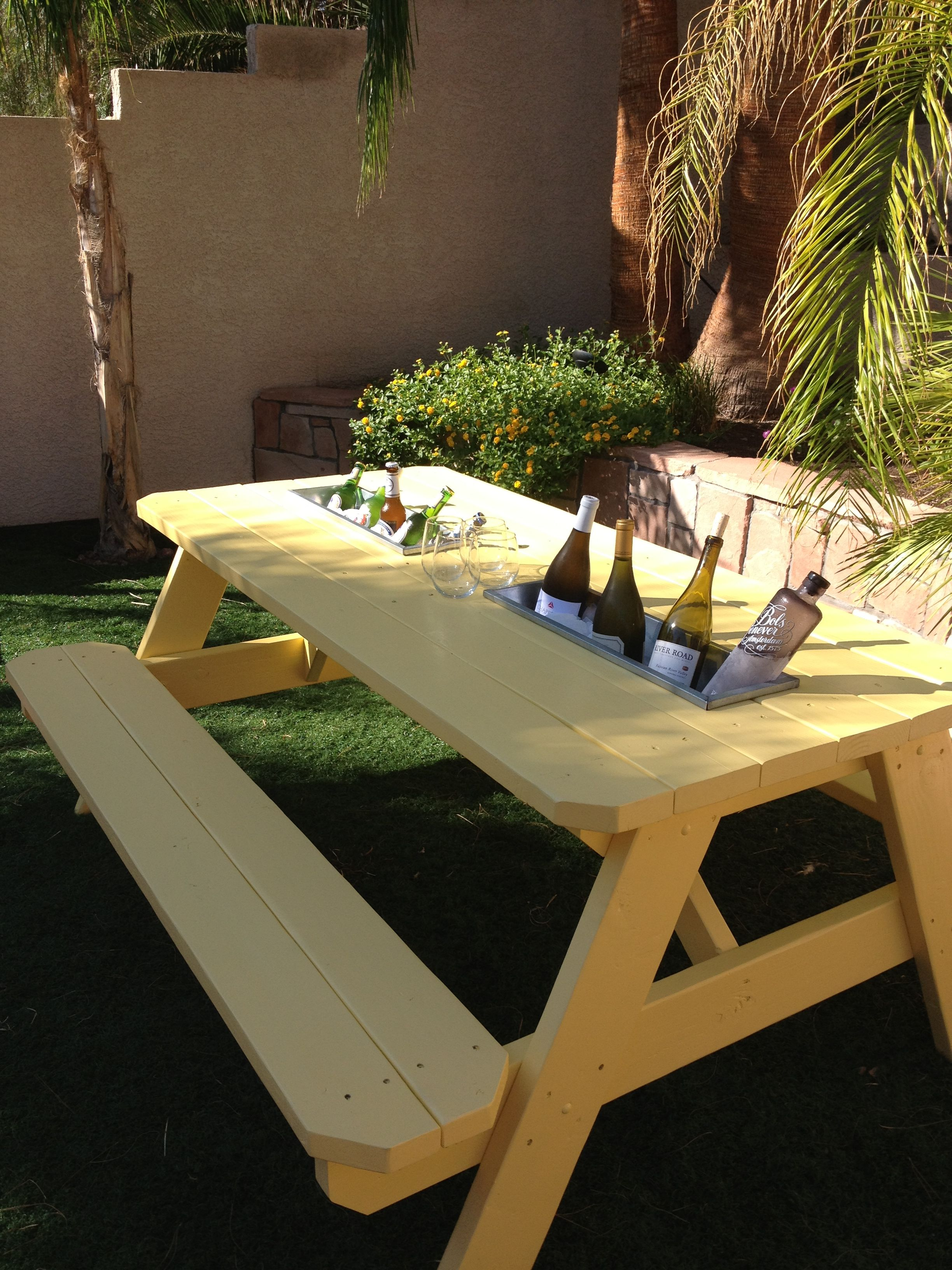 Table With Drink Trough Picnic Table Lifestyle Pinterest Picnic Tables Picnics And