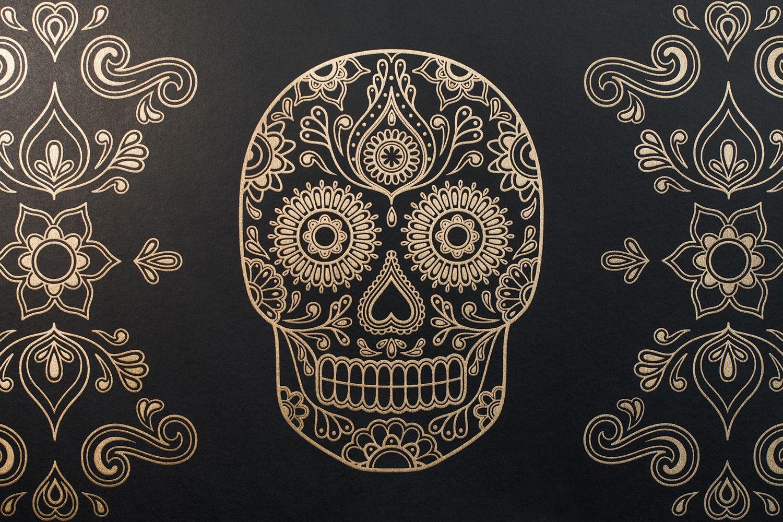day of the dead sugar skull wallpaper black gold dia de los muertos pinterest sugar. Black Bedroom Furniture Sets. Home Design Ideas
