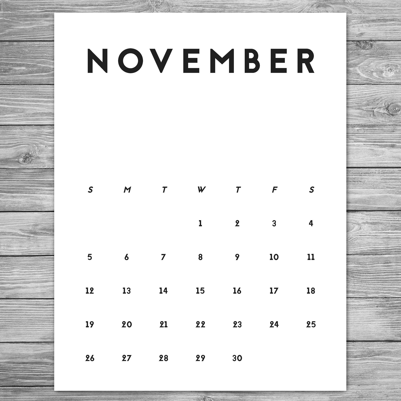 2017 2018 Printable Minimalist Monthly Calendar, Desk Calendar, Wall  Calendar, Calendar Template,