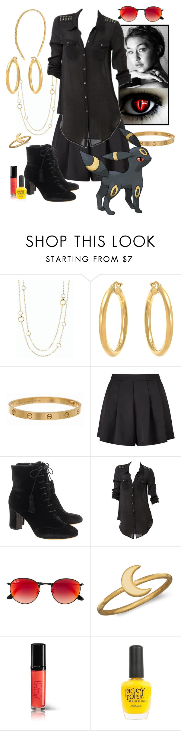 """Umbreon"" by lunar-exorcism ❤ liked on Polyvore featuring Talbots, Cartier, Miss Selfridge, Tabitha Simmons, Bettina Liano, Ray-Ban, BillyTheTree, Piggy Polish, Henri Bendel and Pokemon"