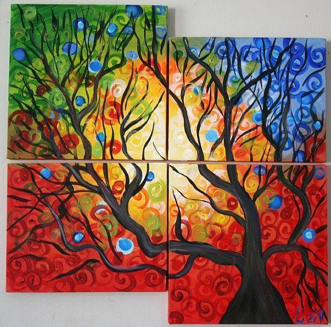 Art: FOUR SEASONS -CUSTOM PAINTING by Artist LUIZA VIZOLI