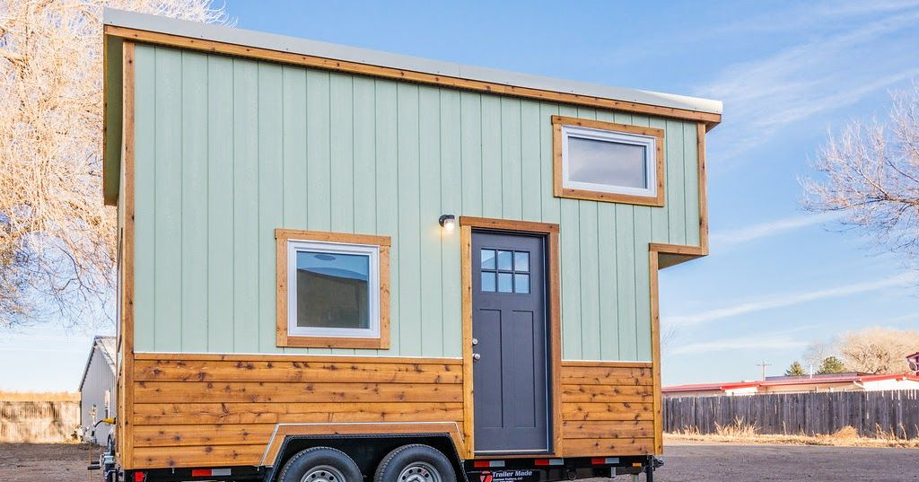 A Beautiful Blue Tiny House From Colorado Based Mitchcraft Homes The Home Has Two Bedrooms Kitchen Bathroom And Fold Out Table
