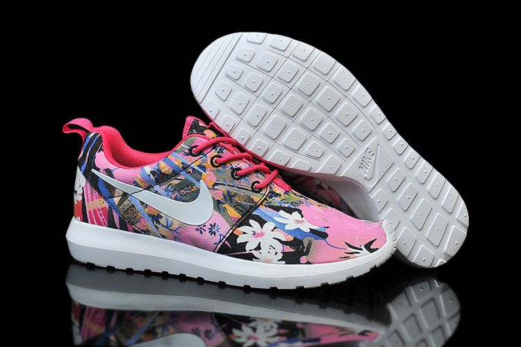 pretty nice af6a3 5e1ea Nike Womens roshe run print London Olympics Rose red Cuihua shoes