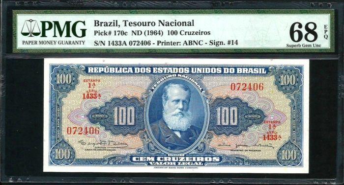 BRAZIL South America 100 Cruzeiros 1964 UNC p-170c