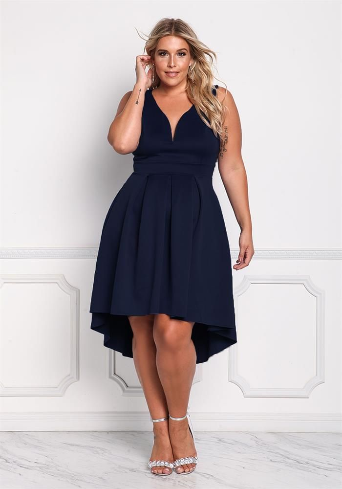 Plus Size Clothing Plus Size Deep V Flared Hi Lo Dress Debshops
