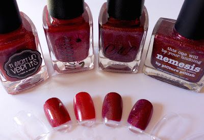 v.r.n.l.: Il était un vernis Pinot Noir, CbL Mighty Red Baron, CbL Obsessed With Marilyn, piCture pOlish Nemesis | Marzipany