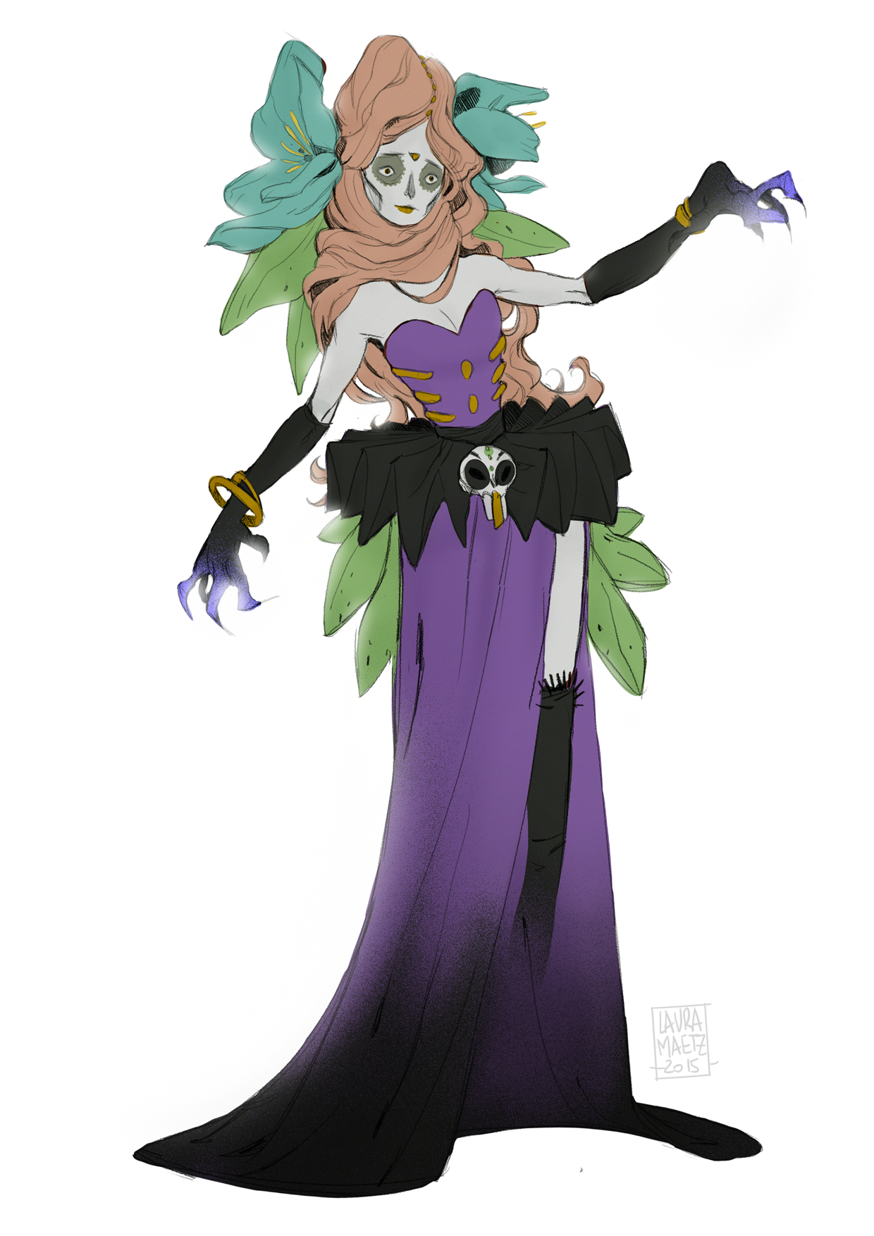 """my take on the monthly theme """"dia de la muerte"""" of the character design challenge :)"""