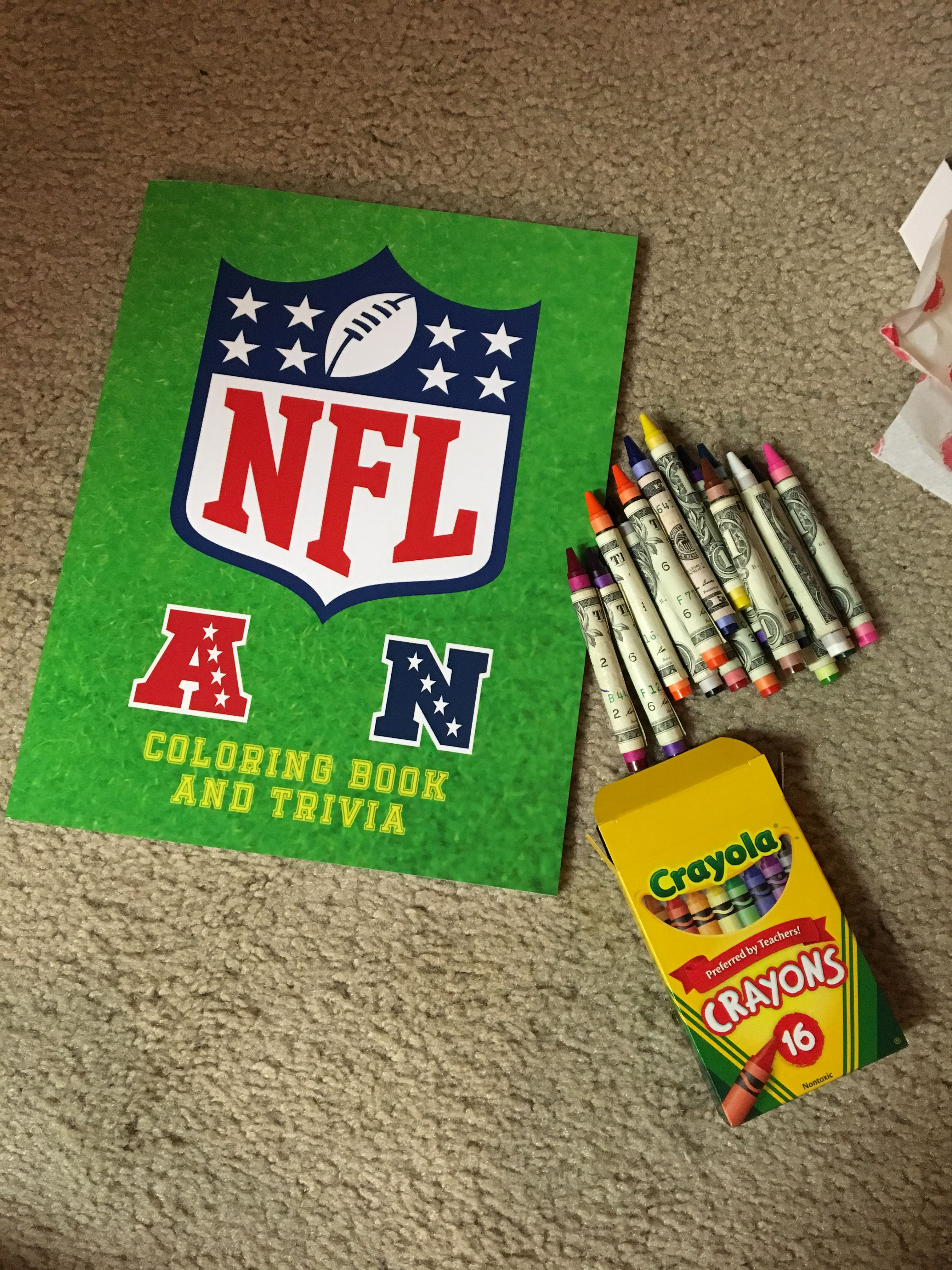 Neat Way To Give Cash To A Sports Fan Or Teenager Dollar Rolled Crayons And Trivia Coloring Book I Wrapped A 5 Bill On Coloring Books Crayon Favorite Color