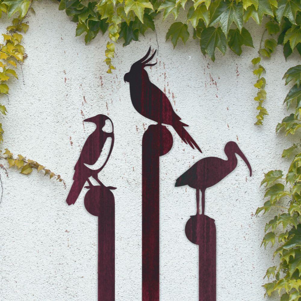 Corten steel metal garden bird silhouettes 70cm75cm tall