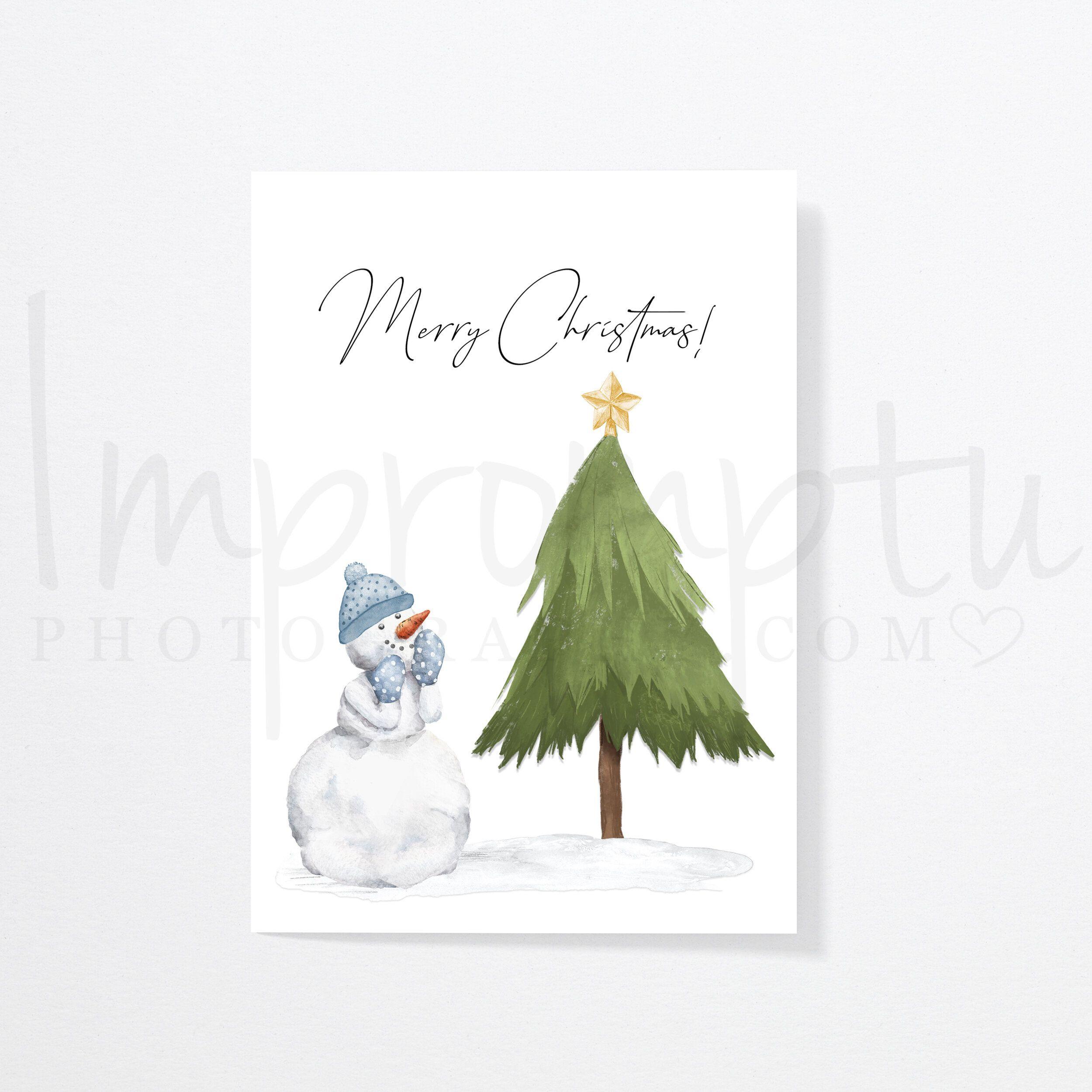 5x7 Printable Christmas Card Snowman Impromptu Photography Printable Christmas Cards Christmas Cards Christmas Printables