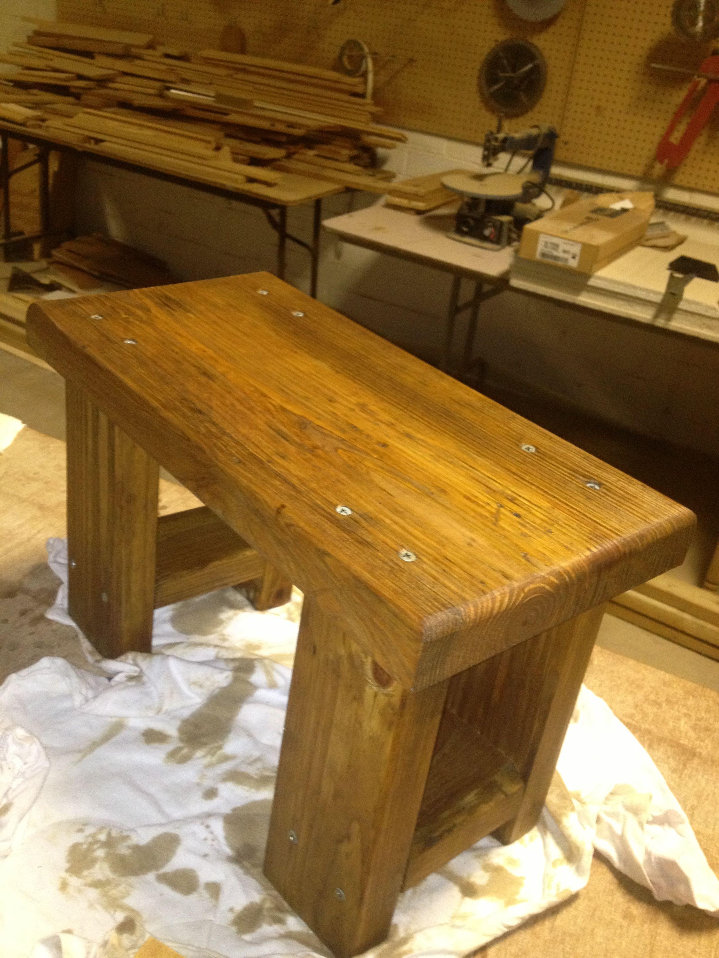 Marvelous Reclaimed Wood Made Into Heavy Duty Foot Stool Rustic Wood Creativecarmelina Interior Chair Design Creativecarmelinacom