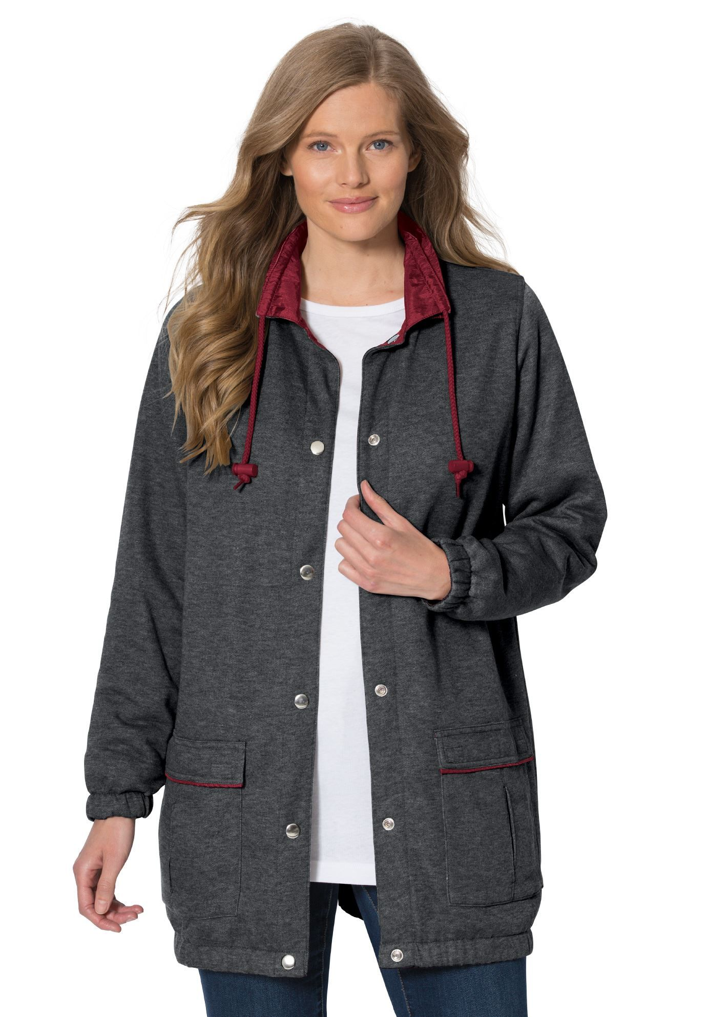 one side of this reversible plus size jacket is plush wonderful