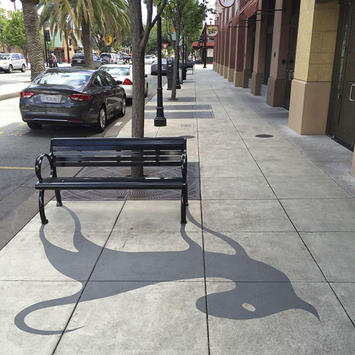 Artist Paints Fake Shadows Onto Sidewalks Leaving People Seriously - Artist paints fake shadows onto sidewalks leaving people seriously confused
