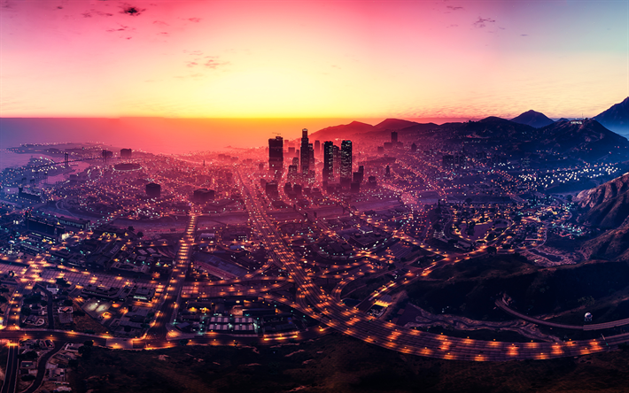 Download Wallpapers Grand Theft Auto V Gta  Los Santos Sunset Game World