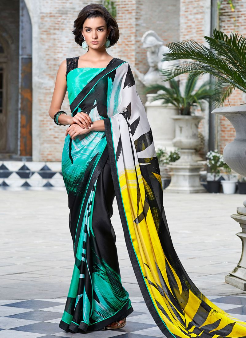 Black colour saree images vehemently georgette multi colour casual saree  multi colour