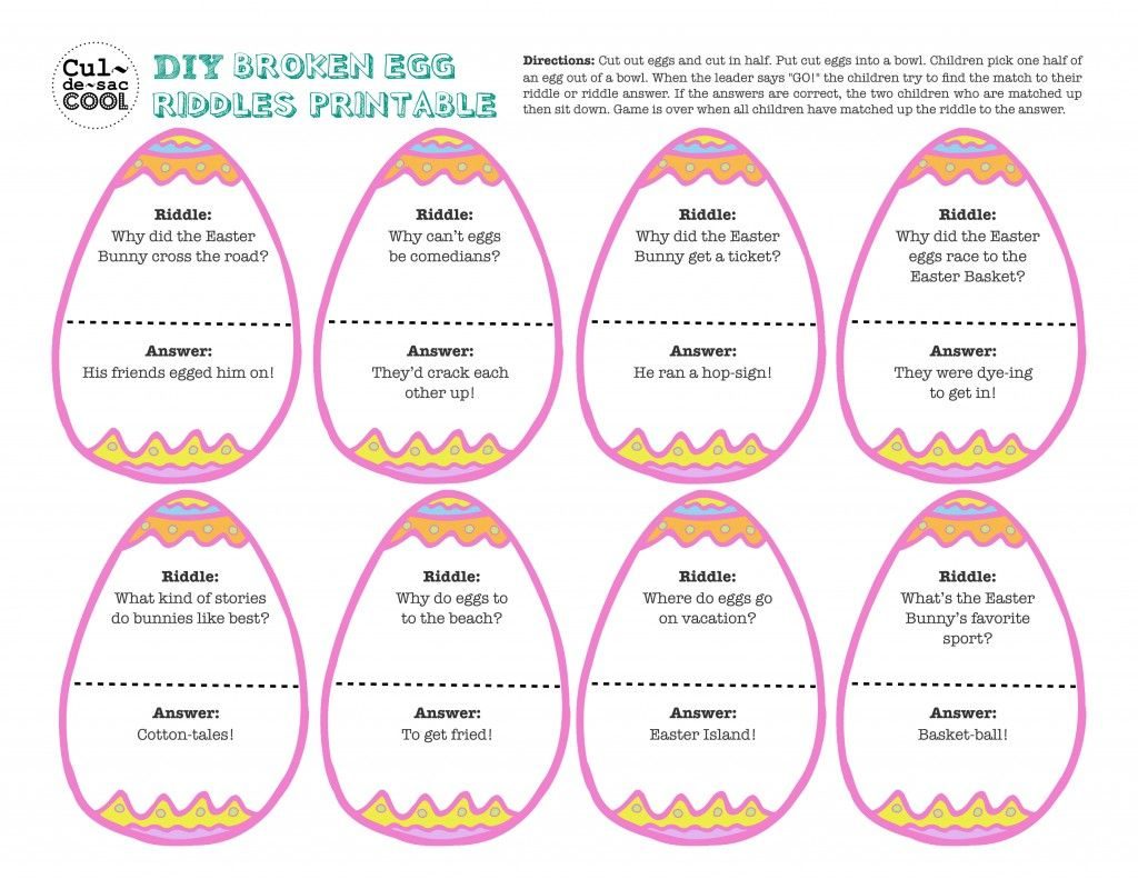 Diy printable broken egg riddles game party pleasers 12 coolest kid easter party games easter egg hunt clues and riddles negle Images
