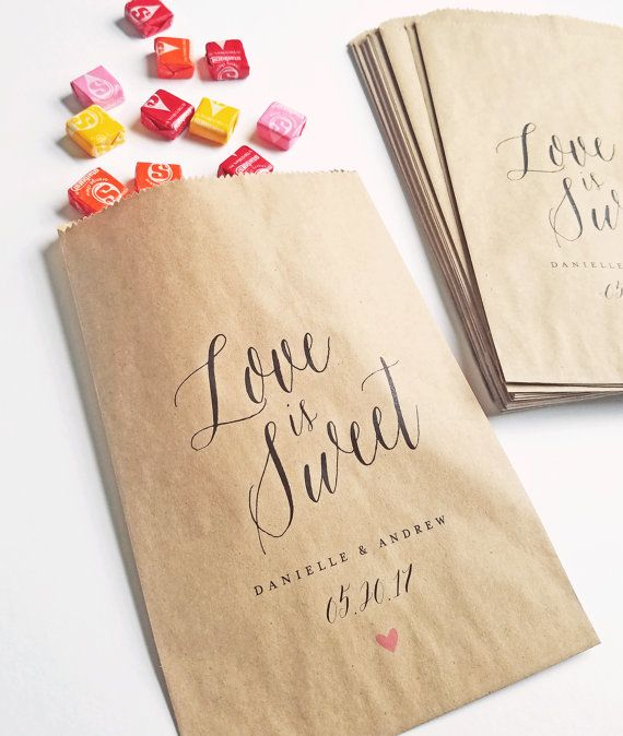 Wedding Candy Buffet Favor Bags Love Is Sweet Bar Calligraphy Script Font Custom Brown Kraft Bridal Shower