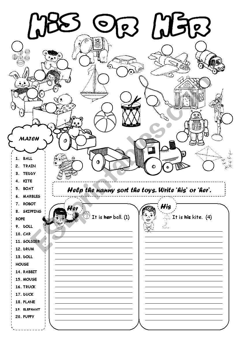 His Or Her Toys Worksheet Kindergarten Phonics Worksheets Grammar Worksheets Phonics Kindergarten [ 1169 x 821 Pixel ]